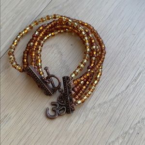 Amber and bronze beaded bracelet